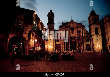 City view of La Habana, Havana, Cuba, South America. The baroque cathedral and square at night, in Habana Vieja, - Stock Photo