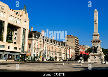 Portugal Lisbon Baixa District Praca dos Restauradores with middle obelisk commemorating 1640 Rebellion which liberated - Stock Photo