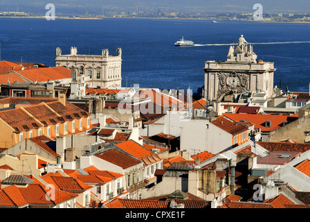 Portugal, Lisbon, Baixa District and Tagus River seen from the Elevador de Sant Justa - Stock Photo