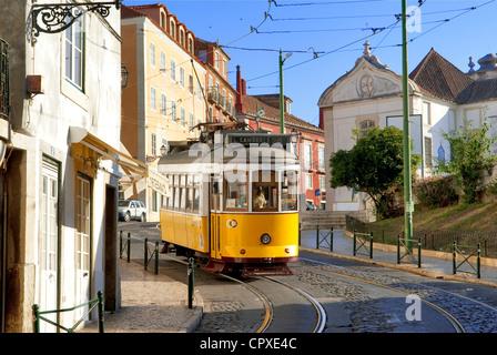 Portugal, Lisbon, Alfama District, tramway along the Largo da Limoeiro - Stock Photo