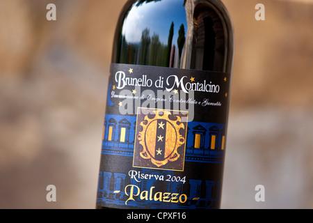 Brunello di Montalcino 2004 Riserva bottle of red wine at wine estate of Palazzo near Montalcino in Val D'Orcia, - Stock Photo