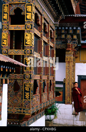 Bhutan Punakha Dzong Buddhist monastery fortress dating of 1637 seat of capital city during three centuries wooden - Stock Photo