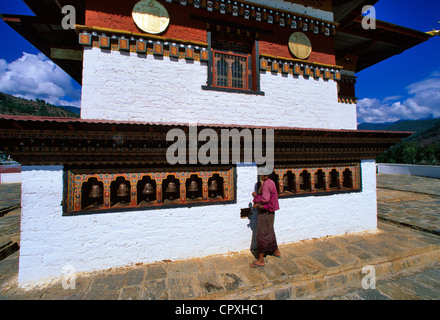 Bhutan Punakha Dzong Buddhist monastery fortress dating of 1637 seat of capital city during three centuries young - Stock Photo