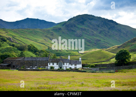 Fell Foot Farm in Little Langdale Valley at Langdale Pass and Langdale Pikes in the Lake District National Park, - Stock Photo