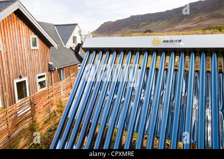 A solar thermal panel on Eigg which is 98% powered by renewable energy. - Stock Photo