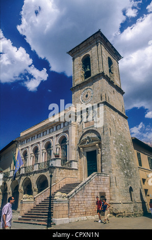 Europe Italy Mount Sibillini National Park  Umbria  Norcia City Hall - Stock Photo