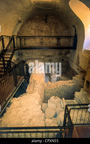 Europe Italy Sibillini Mount National Park Umbria Norcia church of  S. Benedetto excavations - Stock Photo
