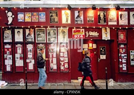 France, Paris, Le Marais District, Le Point Virgule Theatre in Rue Sainte Croix de la Bretonnerie - Stock Photo