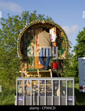Gilded and Carved decorated Wagons and equipment belonging to travellers attending the annual Appleby horse fair, - Stock Photo