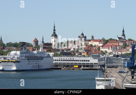 A view of the city of Tallinn Estonia from the Baltic Sea - Stock Photo