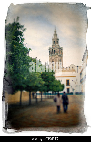 people walking in the street in Spain - Stock Photo
