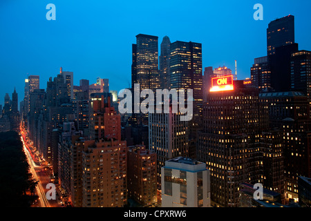 United States, New York City, Manhattan, view from the Oriental Mandarin Hotel on Central Park and Midtown with - Stock Photo