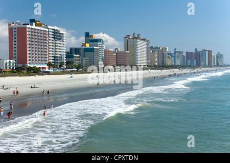 WATERFRONT SKYLINE DOWNTOWN MYRTLE BEACH SOUTH CAROLINA USA - Stock Photo