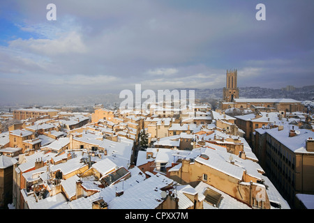 France Bouches du Rhone Aix en Provence view over cathedrale Saint Sauveur (St Saviour's Cathedral) snowed in roofs - Stock Photo