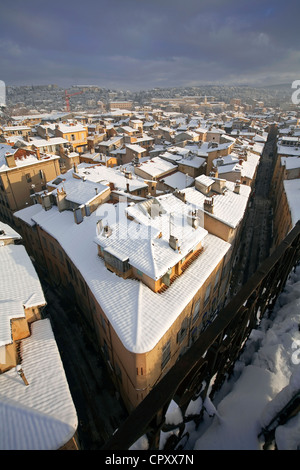 France, Bouches du Rhone, Aix en Provence, view over the snowed in roofs from the Belfry - Stock Photo