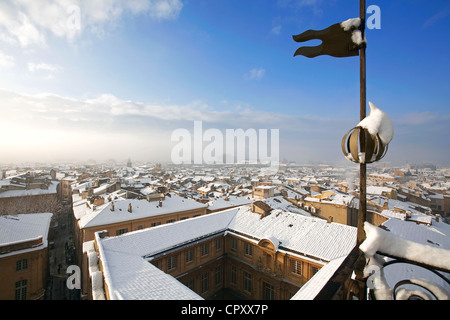 France, Bouches du Rhone, Aix en Provence, view over the snowed in roofs and the town hall from the Belfry - Stock Photo