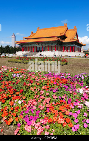 Taiwan, Taipei, old town, National Concert Hall and the Shin Kong Mitsukoshi Tower in the background - Stock Photo