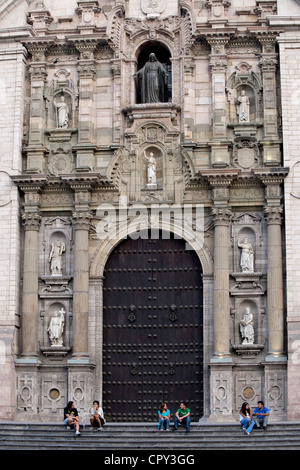 Peru Lima historical center listed as World Heritage by UNESCO Plaza de Armas Baroque architecture Cathedral built - Stock Photo