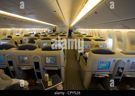 France, Paris, travelling in business class in an Air France Boeing 777 - Stock Photo