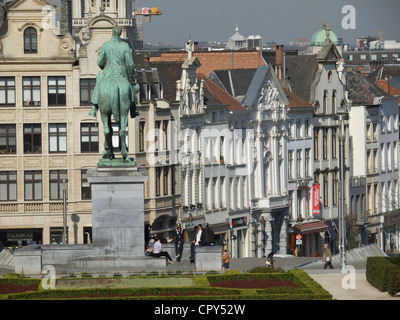 Historic city center of Brussels seen from the Kunstberg hill, Belgium - Stock Photo