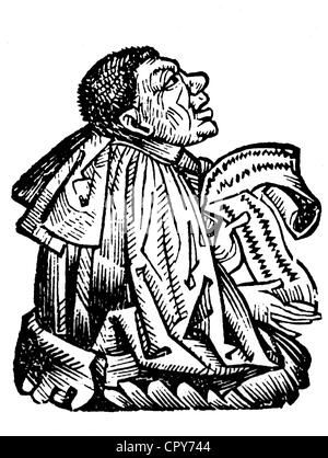 Pittacus of Mytilene, circa 650 BC - 578 BC, politician and philosopher, one of the 'Seven Wise Men', woodcut out - Stock Photo
