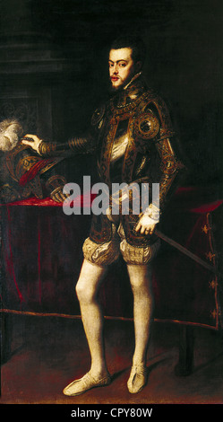 Philip II of Spain, 21.5.1527 - 13.9.1598, King of Spain 1556 - 1598, full length, wearing armour, painting by Titian - Stock Photo
