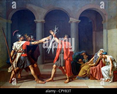 Oath of the Horatii, Le Serment des Horaces, by Jacques-Louis David, 1784, Musee du Louvre Museum, Paris, France, - Stock Photo