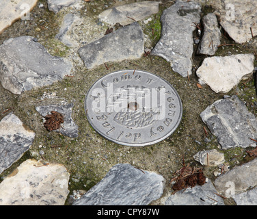 A plaque set in the walkway of the Greenway walk around lake Como, Italian Lakes, Lombardy, Italy