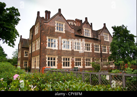 Eastbury Manor, Tudor mansion house in Barking, Essex, England, seen from the public highway - Stock Photo