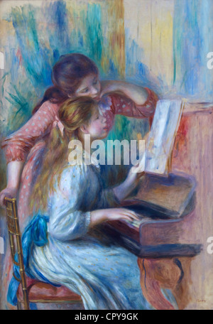 Young girls at piano, by Pierre-Auguste Renoir, 1892, Musee de L'Orangerie Museum, Paris, France, Europe, EU - Stock Photo