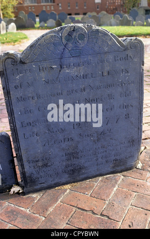 Gravestone of merchant from Great Yarmouth, Norfolk, UK in the Old Burial Ground, Boston Massachusetts, USA - Stock Photo