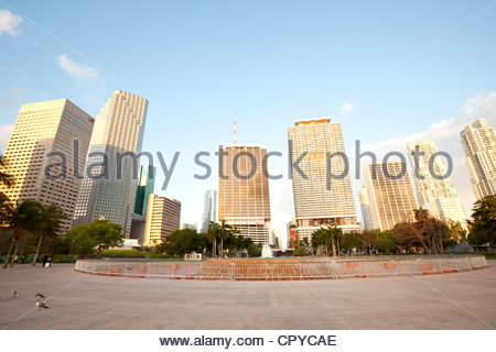 Fountain at Bayfront Park and downtown buildings, Miami, Florida, USA - Stock Photo