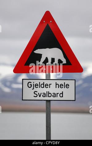 Norway, Svalbard (Spitzbergen), Longyearbyen, polar bear sign - Stock Photo
