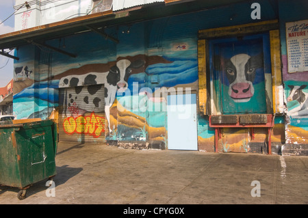 Cow murals in the Meat Packing District, Gansevoort Market - Stock Photo
