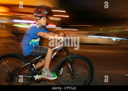 Miami Florida Little Havana Calle Ocho Miami Critical Mass self-propelled transportation event bicycle bicycles - Stock Photo