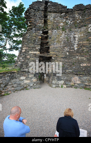 Woman reading the information board and man listening and looking at the Dun Telve Broch at Glenelg in Scotland - Stock Photo