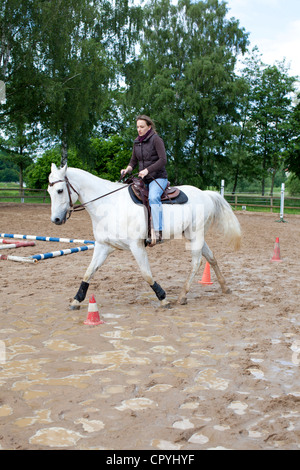 Young woman (35 years) riding on a grey horse on a muddy drill ground - Stock Photo
