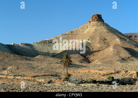 Tunisia, Chenini, cave-dweller Berber village, fortified citadel overlooked by a Ksar - Stock Photo