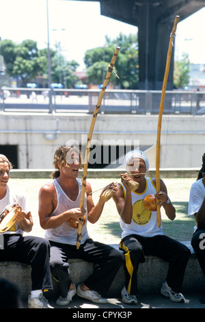 Brazil, Rio de Janeiro, 15th November Square, musicians group accompagnying a Capoeira group - Stock Photo