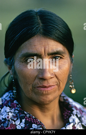 Chile, Araucania Region, Quinquen valley, portrait of a Pehuenche indian from the Quiquen community - Stock Photo