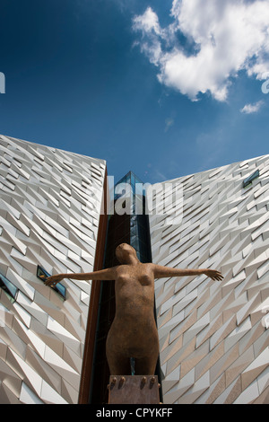 Titanic signature building with sculpture, Belfast Northern Ireland - Stock Photo