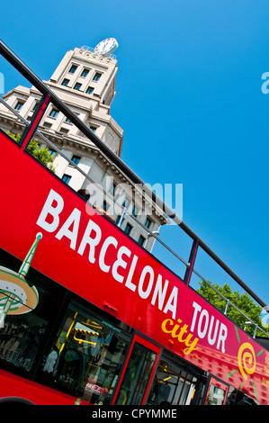 Barcelona Tour City bus parked in Plaza Catalunya, Barcelona, Catalonia (Spain) - Stock Photo