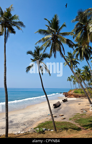 India, Kerala State, Varkala, Odayam Beach a few kilometers south - Stock Photo