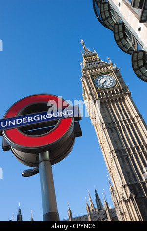 Big Ben and the Houses of Parliament with Underground sign, London, England, United Kingdom, Europe - Stock Photo