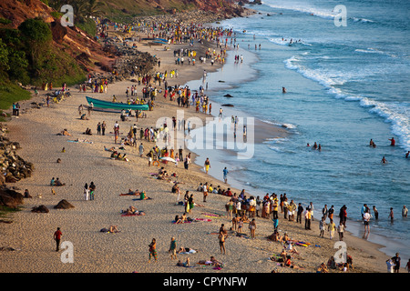 India, Kerala State, Varkala, seaside resort at the top of a cliff - Stock Photo