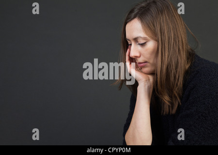 Woman, sad, depressions, worries - Stock Photo