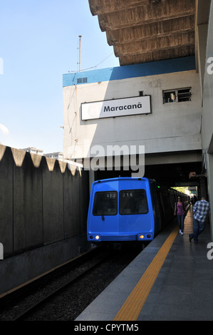 subway train entering in Maracana station Rio de Janeiro Brazil South America - Stock Photo
