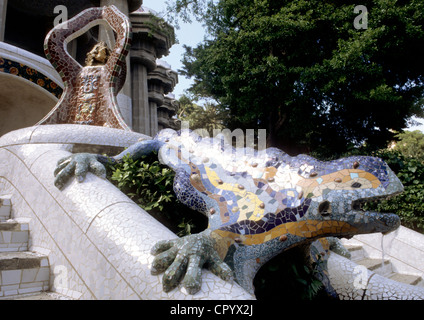 Spain Catalonia Barcelona Gracia District Park Guell by architect Antoni Gaudi listed as World Heritage by UNESCO - Stock Photo