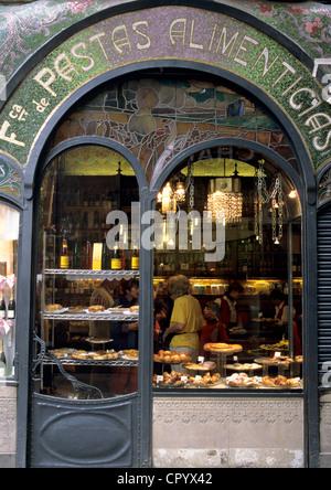 Spain Catalonia Barcelona Las Ramblas Escriba cake shop and chocolate maker facade with Modernista architecture - Stock Photo