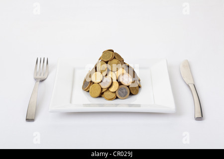 Pile of Euro coins on dinner plate - Stock Photo